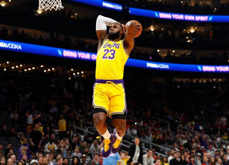 LeBron James shooting for LA Lakers