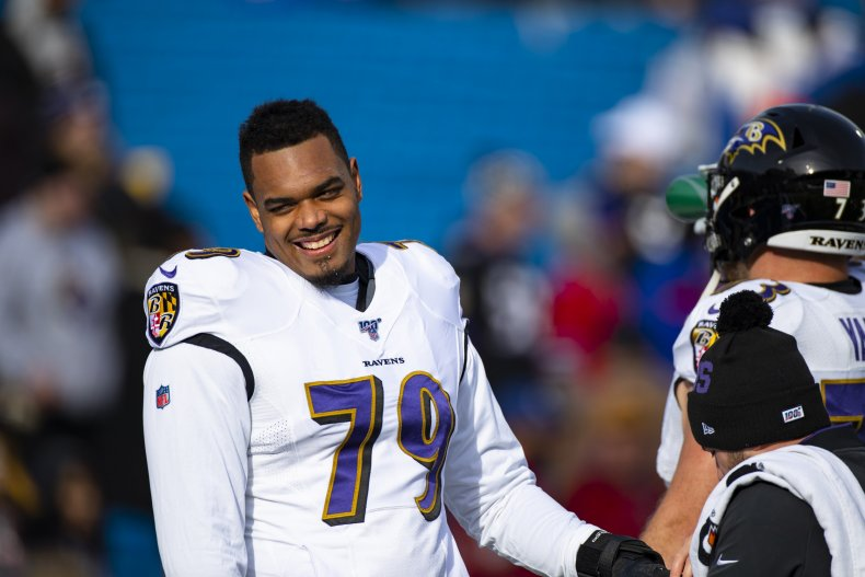 Ronnie Stanley playing for Baltimore Ravens