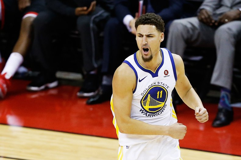 Klay Thompson playing for Golden State Warriors