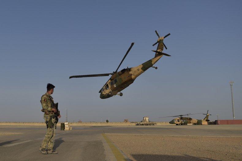 Afghan Black Hawk helicopter taking off Helmand