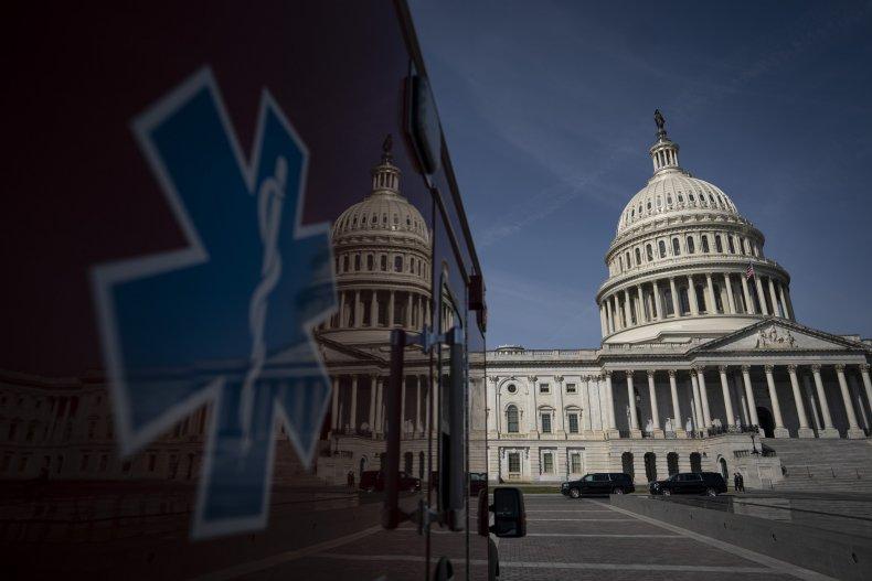 Ambulance parked outside the U.S. Capitol