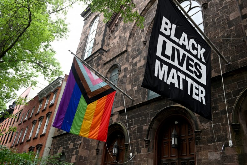 Pride and Black Lives Matter Flags.