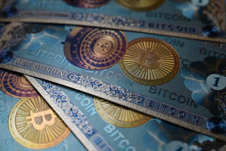 A physical banknote imitations of Bitcoin