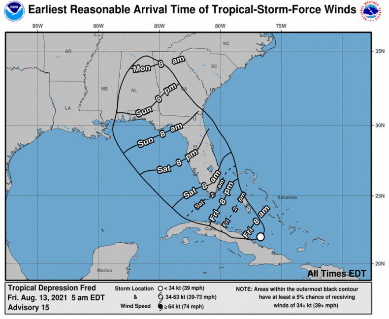 Storm Fred map