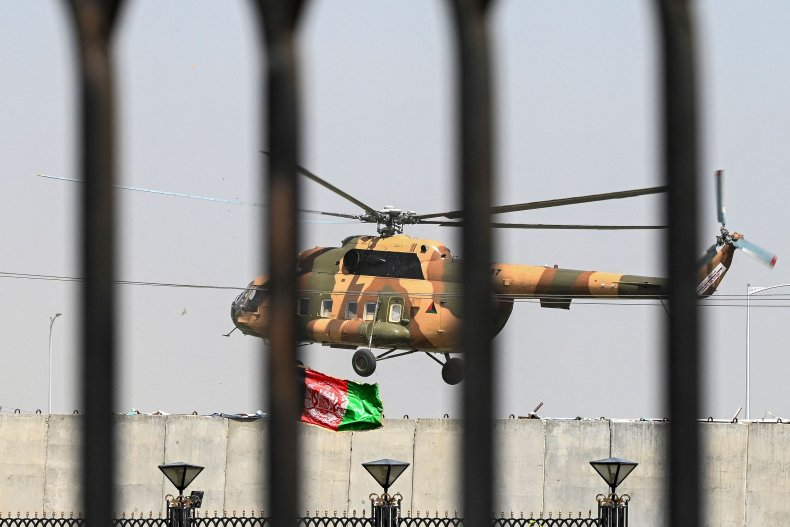 Afghan helicopter over parliament in Kabul