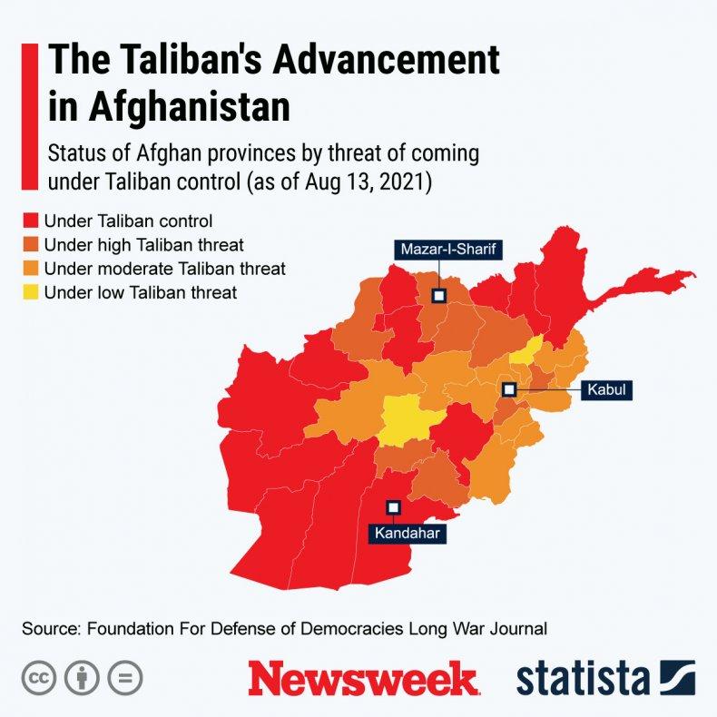 Afghanistan, control, map, Taliban, advances