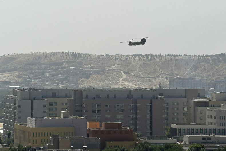 A U.S. military helicopter over Kabul.