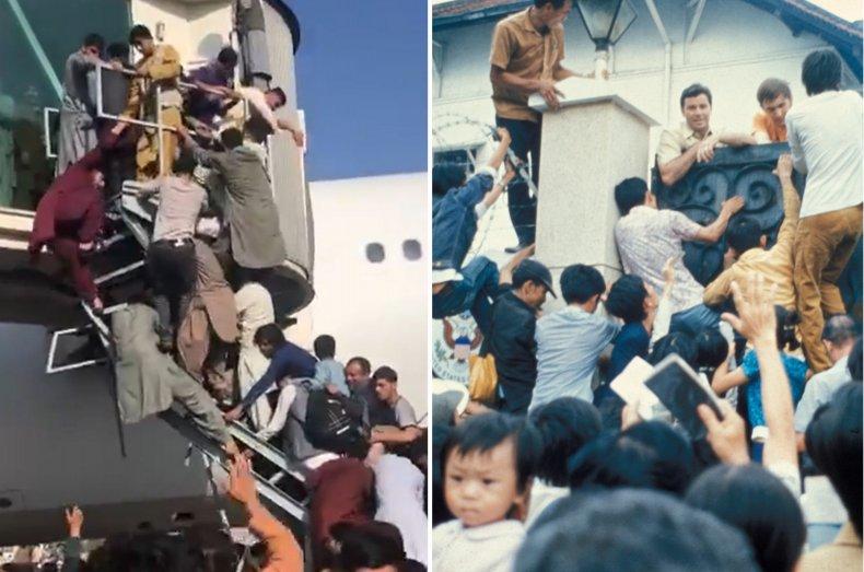 Composite of Kabul and Saigon evacuation scenes.