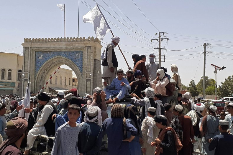 Taliban pictured in Kandahar during advance