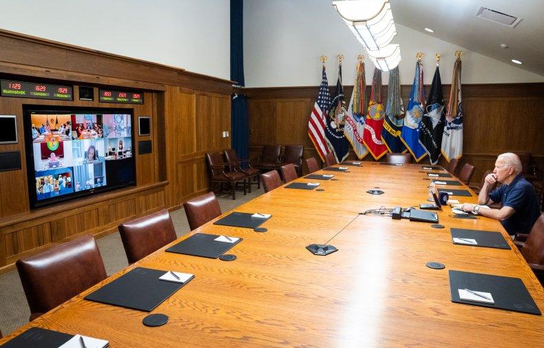 Joe Biden and clocks at Camp David