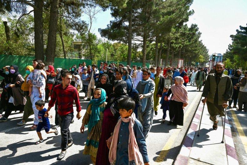 Afghan People Walking to Airport