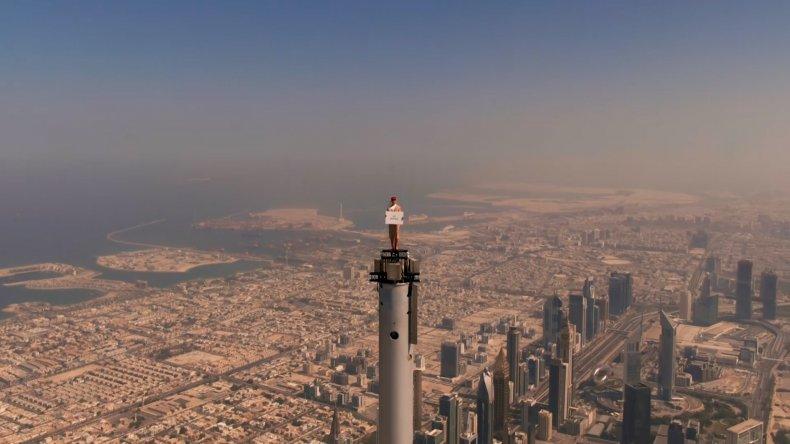 Emirates commercial atop the Burj Khalifa.
