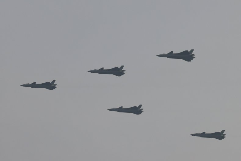 China Air Force Jets In Military Parade