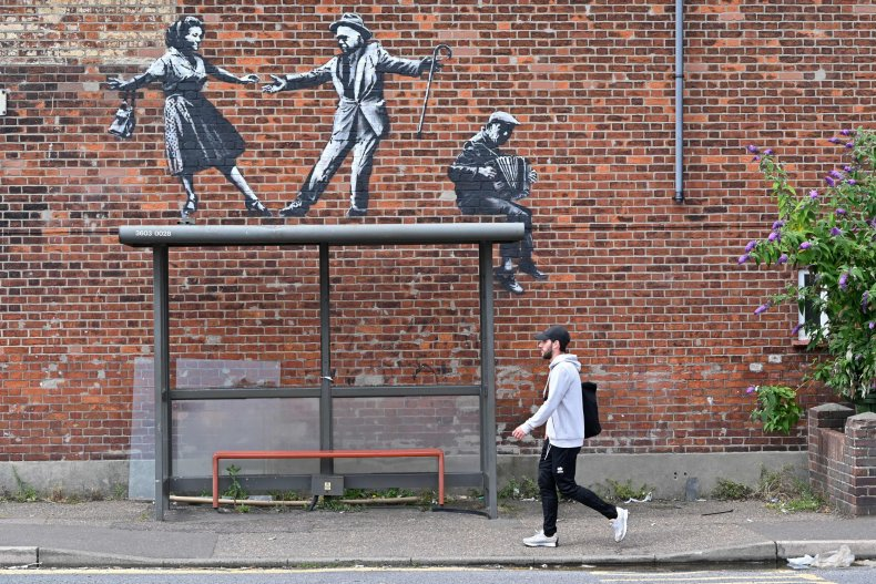 Banksy Spraycation Bus Stop