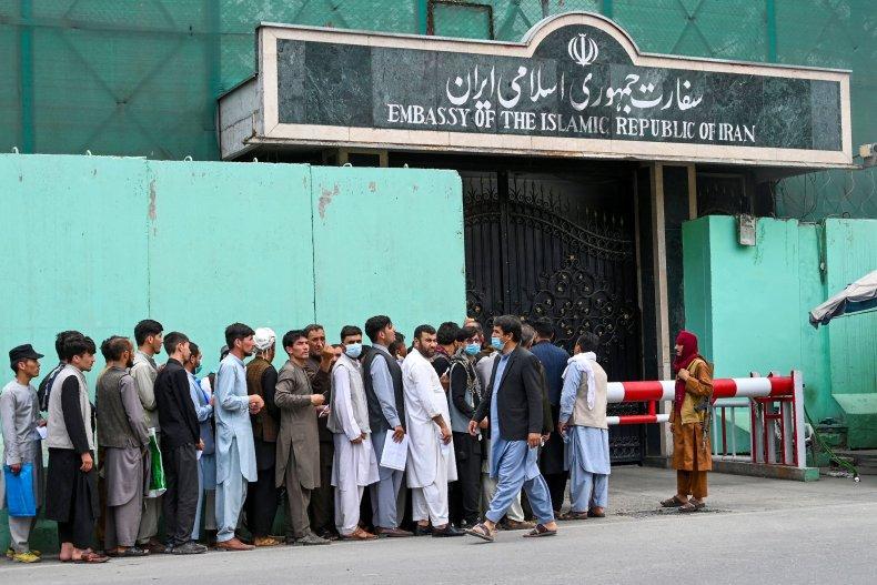 Iran, embassy, Afghans, line, up, visa