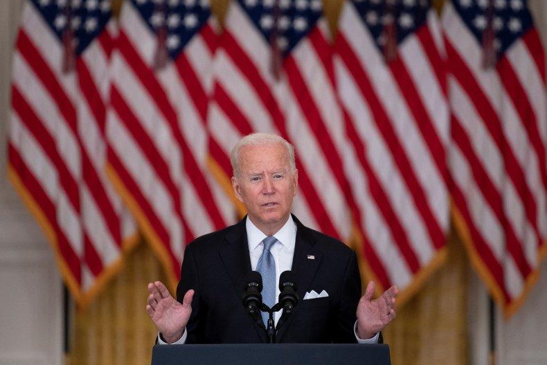 US President Joe Biden speaks about the