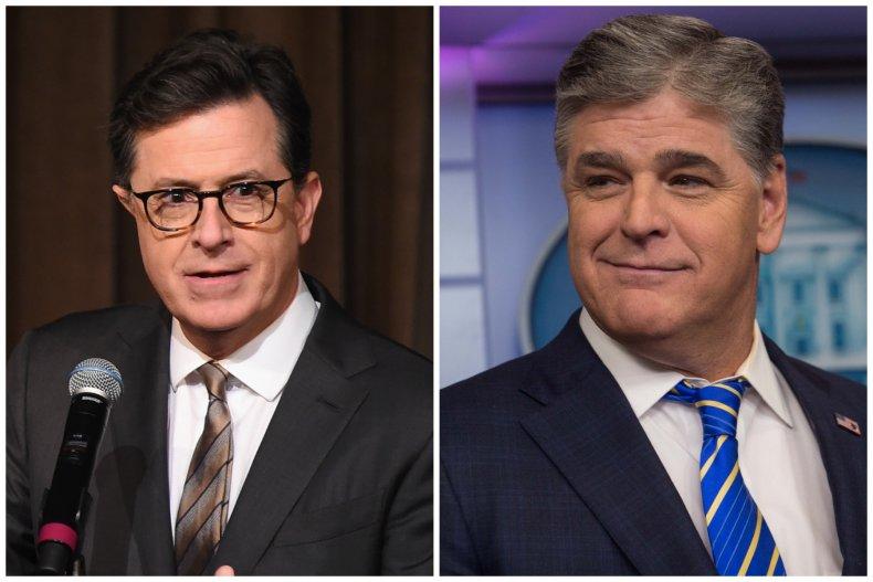 Stephen Colbert and Sean Hannity