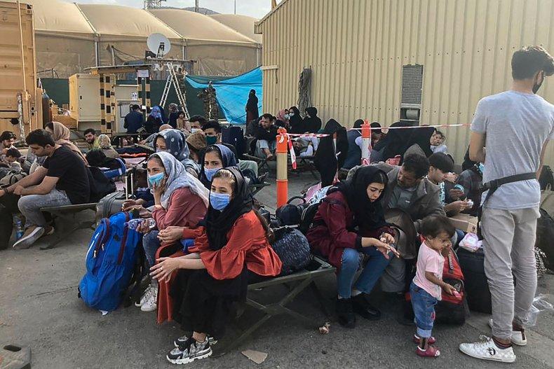 Afghans Waiting at Kabul Airport