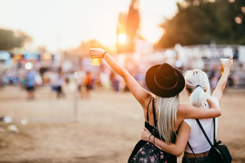 Friends at a music festival together