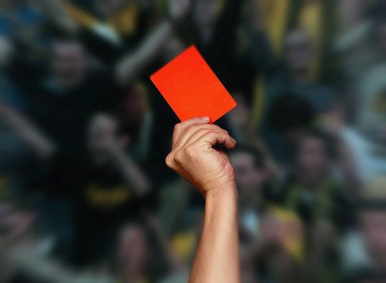 Referee fires gun after red card disagreement