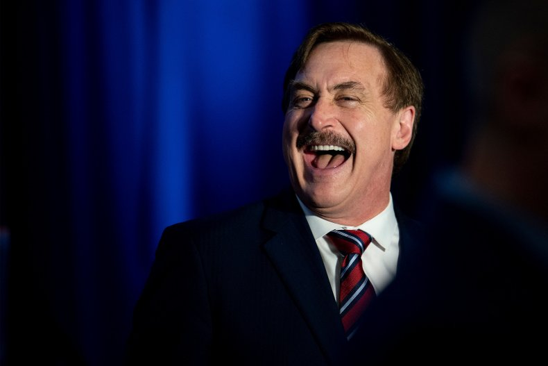 Mike Lindell Laughs at a Press Conference