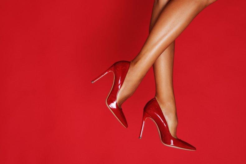 Woman wearing red heels
