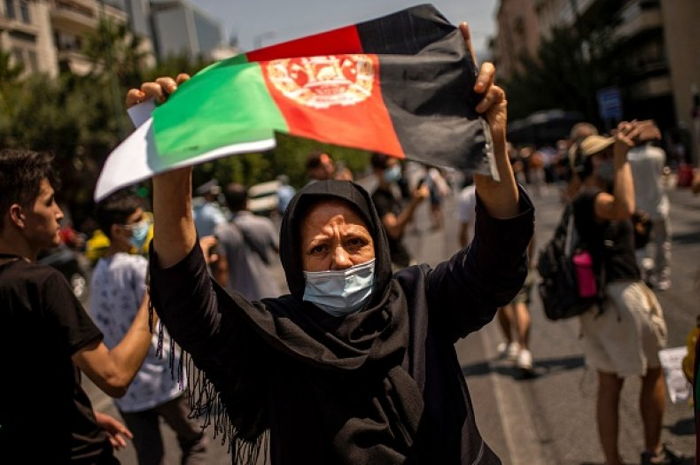Greece Afghan Woman Taliban Takeover Protest