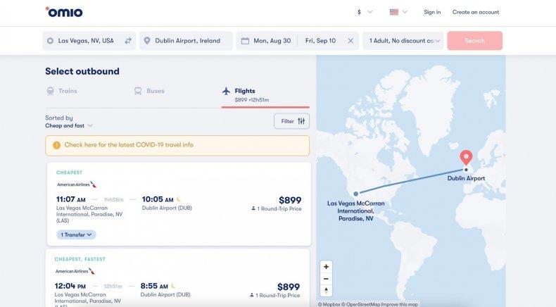 Omio travel website options