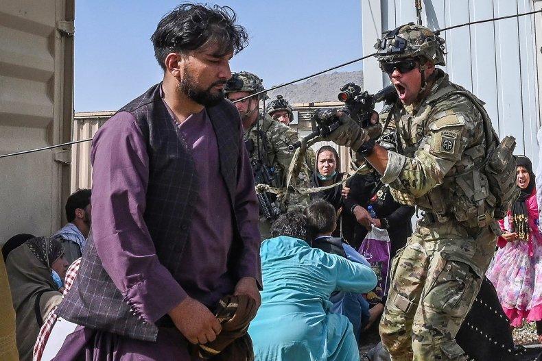 US, military, gun, Afghan, civilian, airport