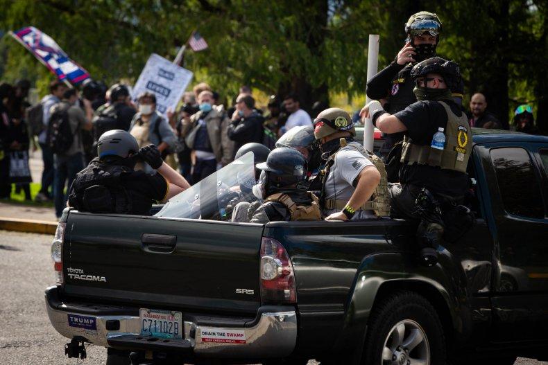 Proud Boys Antifa Portland skirmish tear gas