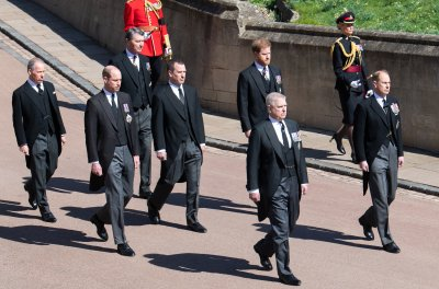 Prince Andrew at Prince Philips Funeral