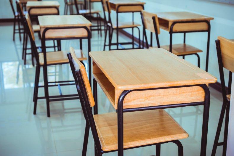 Stock photo of school desks