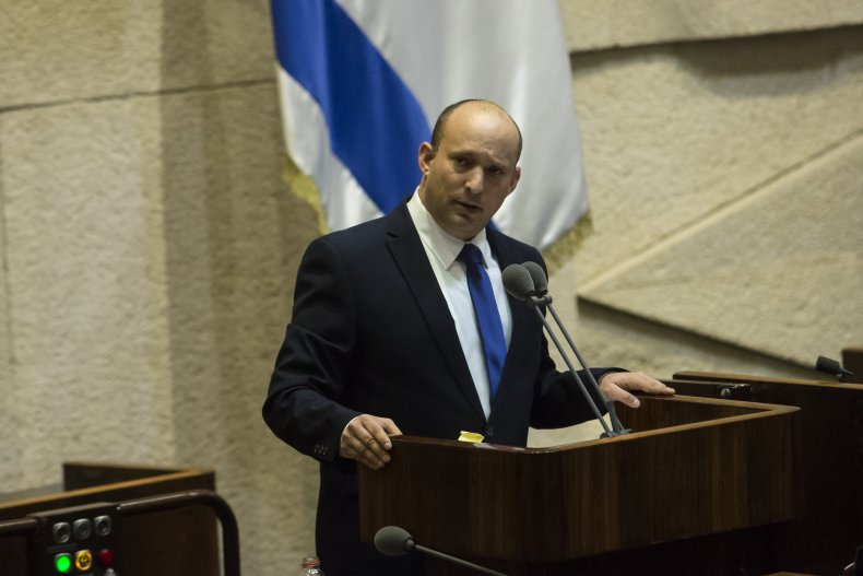Israeli Prime Minister Naftali Bennett speaks before
