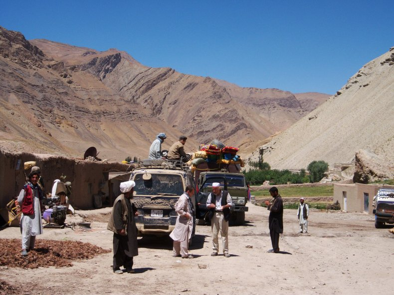 Tourists traveling to Afghanistan's Minaret of Jam.