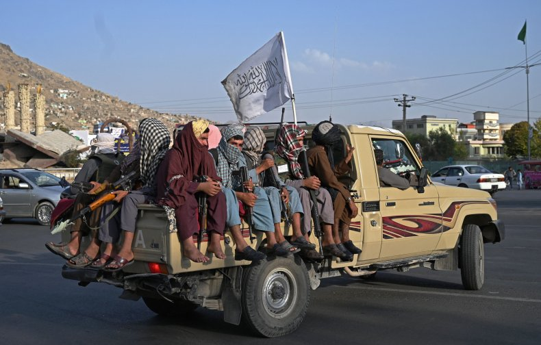 Taliban, fighters, flag, truck, Kabul, Afghanistan