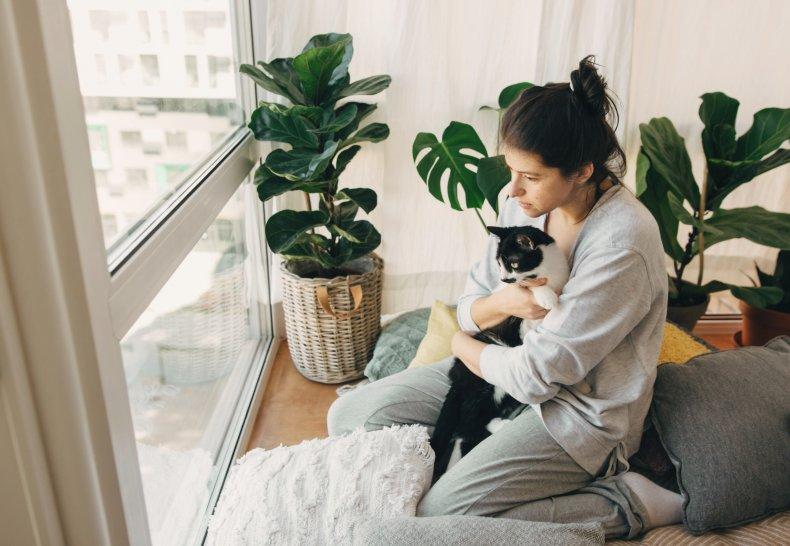 A woman holding a pet cat.
