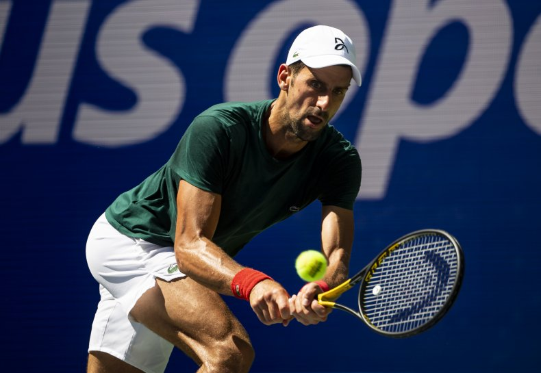 Novak Djokovic demonstrates his powerful backhand.