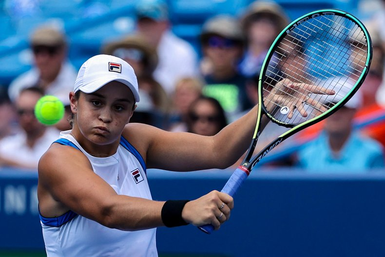 Ashleigh Barty measures a shot in Ohio.