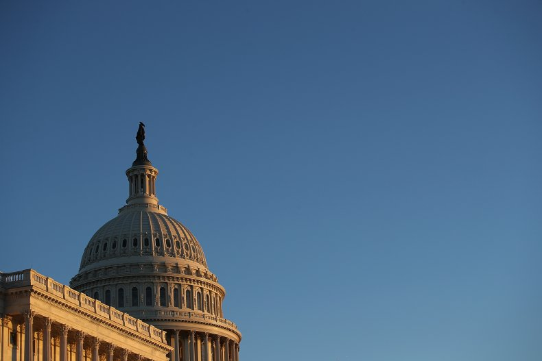 The U.S. Capitol is shown at sunset