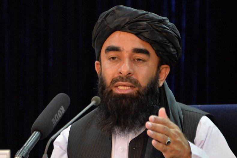 Taliban Spokesman Zabihullah Mujahid Speaks in Kabul