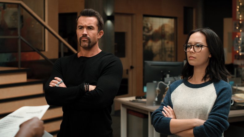 Rob McElhenney, Charlotte Nicdao in Mythic Quest