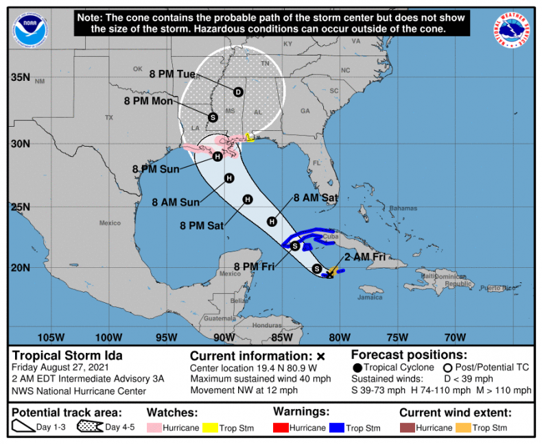 Tropical Storm Ida map