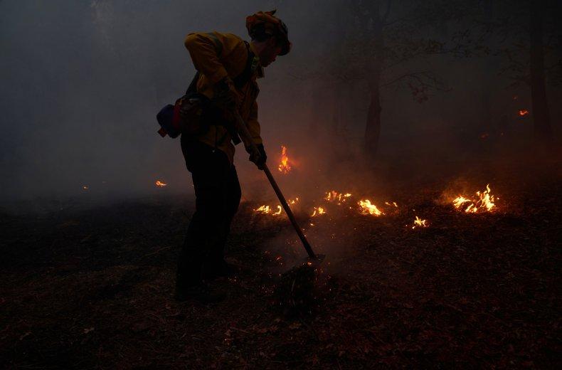 A wildfire hot shot crew battles flames