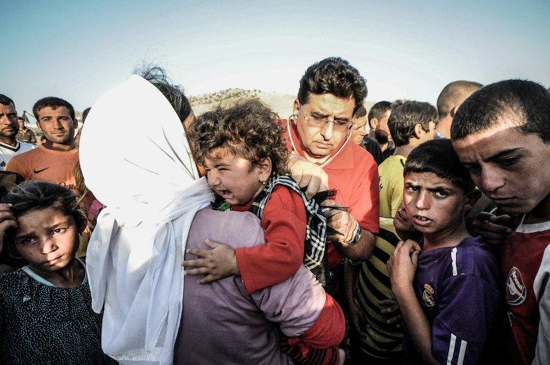 Displaced Yazidis fleeing ISIS