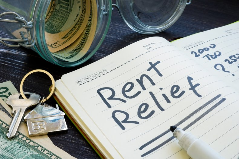 A stock photo of rent relief sign