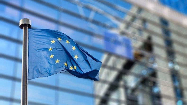 European Union flag outside European Parliament, Brussels