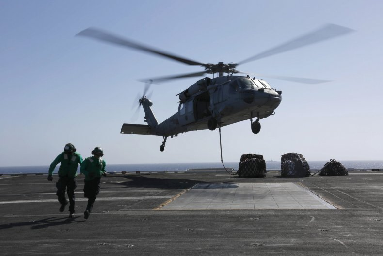 Helicopter on USS Abraham Lincoln