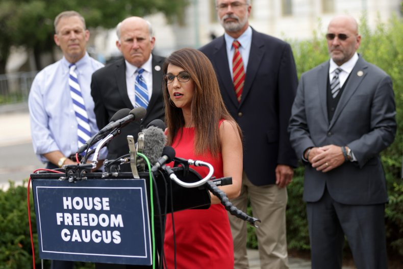 Boebert Attends a Freedom Caucus Press Conference