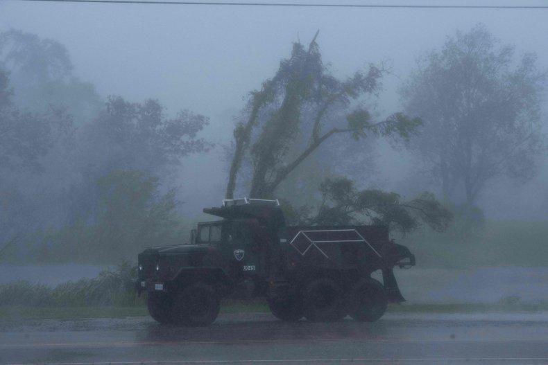 Truck in Hurricane Ida