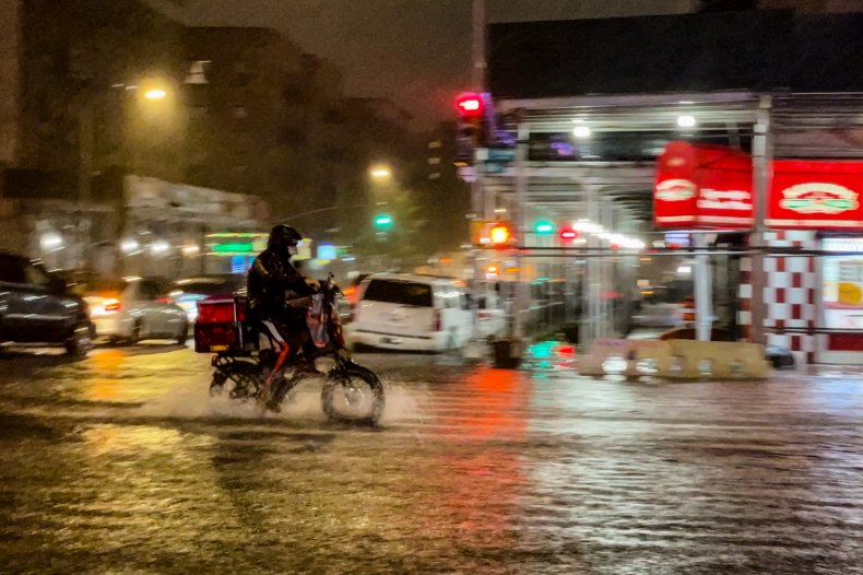 Delivery driver during Storm Ida